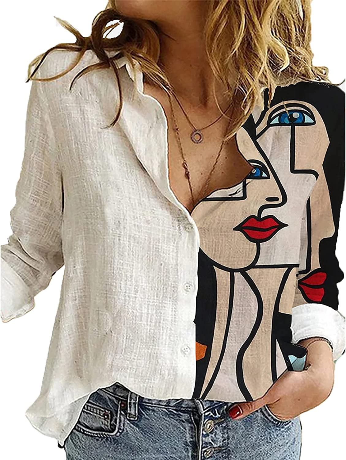 White Womens Cotton Linen Button Down Shirt Long Sleeve V Neck Fashion Blouse Printed Casual Tops for Work
