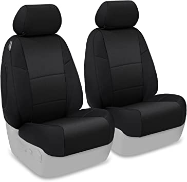 2 Car Seat Covers Vinyl Leather Compatible to Jeep 858 Black