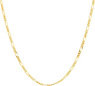 Lifetime Jewelry Figaro Chain 1.5MM, 24K Gold with Inlaid...