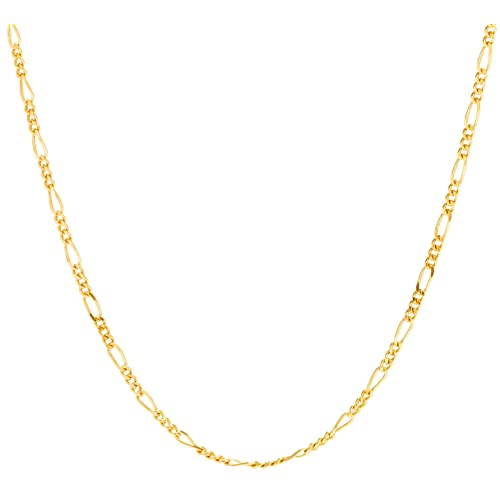 87a7fe830 Lifetime Jewelry Figaro Chain 1.5MM, 24K Gold with Inlaid Bronze, Premium  Fashion Jewelry