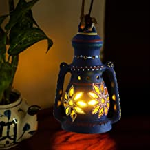 ExclusiveLane 8 Inch Terracotta Balcony Hanging Lamp Cum Table Lantern (14.4 cm x 10.9 cmx 22.8 cm, Blue)