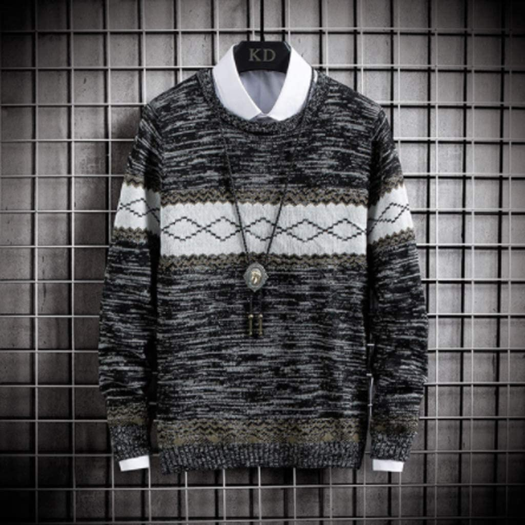 ZYING Sweater Mens Autumn Long Sleeve Fit Knitted Warm Male Pullover Argyle-Pattern Casual Loose Spring Winter Wearing (Color : Style 2)