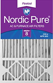 Nordic Pure 16x25x4/16x25x5 (4-3/8 Actual Depth) MERV 8 Honeywell FC100A1029 Replacement Pleated AC Furnace Air Filter, 4 Pack