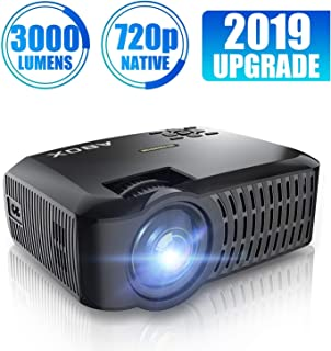 HD Projector, ABOX LED Mini Portable HDMI Projector, 1920 x 1080p Supported, HDMI/VGA/Micro SD/AV/USB, Laptop/TV Box/Phone/PS4 for Home Theater Entertainment