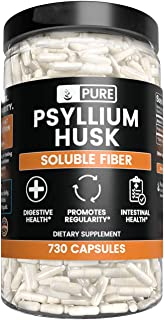 Pure Psyllium Husk (730 Capsules) Potent, Natural Source & Gluten-Free, Made in USA (1575 mg Serving)