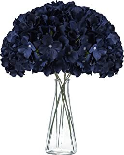 VARWANEO Navy Blue Hydrangea Silk Flowers Heads with Stems Artificial Flowers for Decoration Wedding Rome Party Shop Baby ...