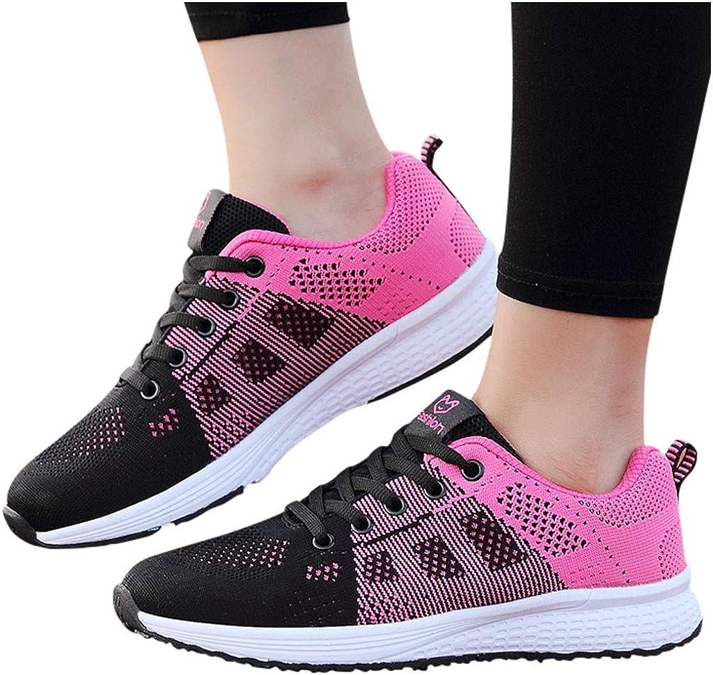 SSYUNO Women's Walking Shoes Women Mesh Solid Non-Slip Lace-Up Shoe Sneakers Casual Shoe Student Running Shoe