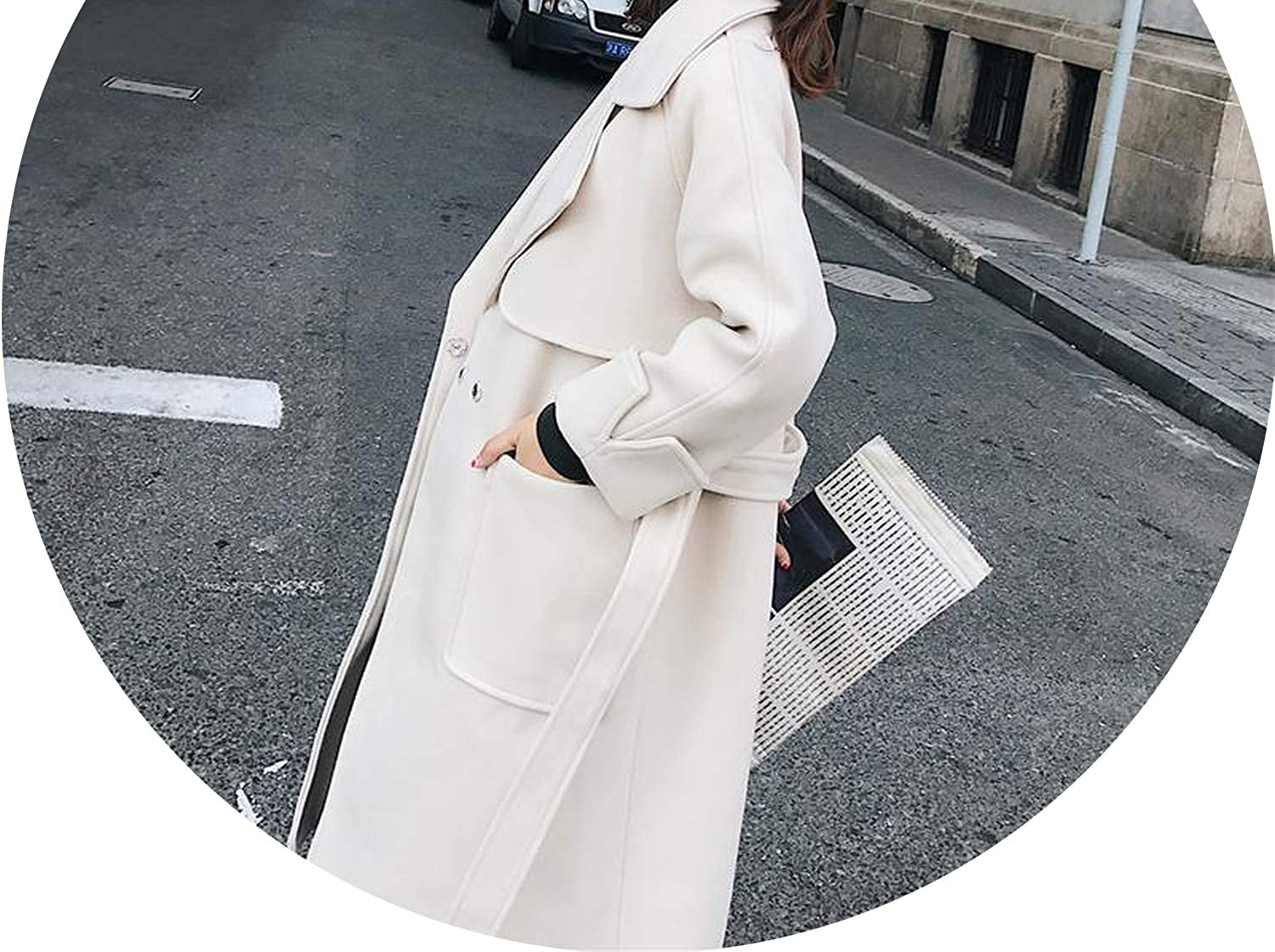 Jifnhtrs Women Long Woolen Coat Women's Jacket Loose Covered Button Cashmere Coat and Jacket