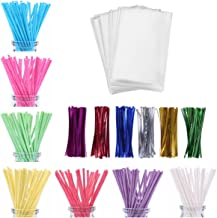 600ct Lollipop Cake Pop Kit Including 200 Lollipop Sticks, 200 Lollipop Bags and 200 Twist Ties, Candy Wrappers Accessories Set