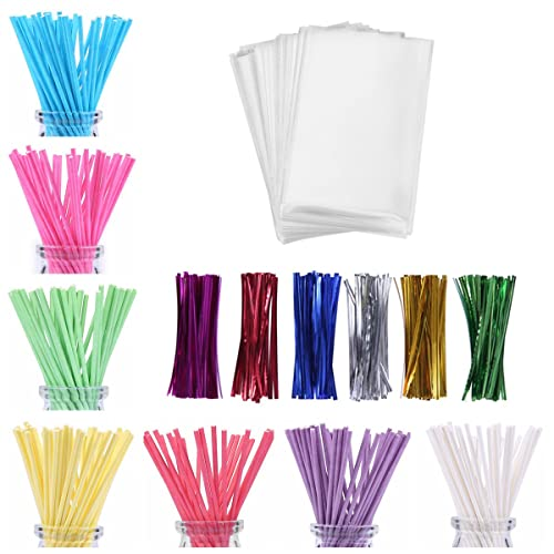 "100 CAKE POP Treat Bag Sets Metallic Twist Ties Lollipop Sticks 3/"" x 5/"" Combo PK"