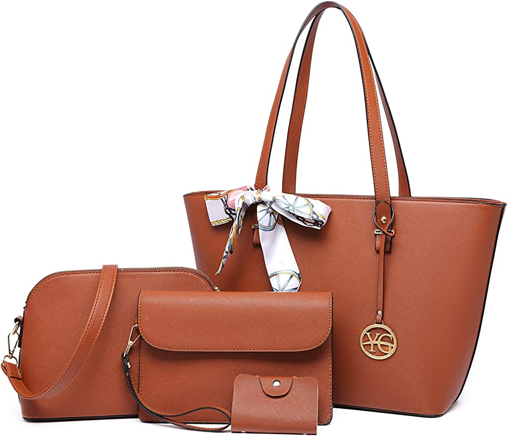 Yeumoug, borsa a spalla/tracolla da donna, con acessori, set da 4 pezzi, marrone, in ecopelle