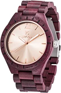 Uwood Wood Watch UW1001 Handmade Mens Sandalwood Analog Japanese Quartz Lightweight Vintage Wooden Wrist Watches
