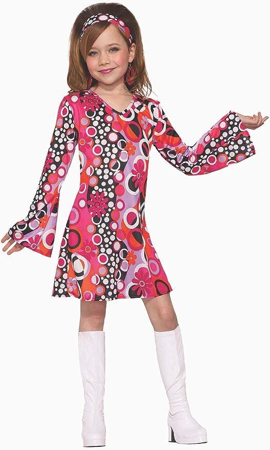 60s 70s Kids Costumes & Clothing Girls & Boys Forum Novelties Childs Groovy Girl Costume Dress Pink/Black Large  AT vintagedancer.com