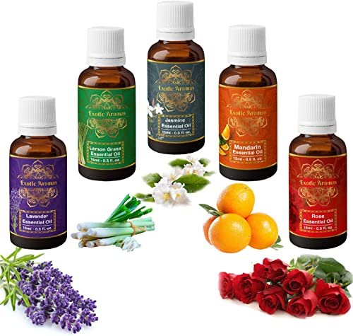 Exotic Aromas Essential Oils Lavender oil Lemongrass oil Jasmine oil Mandarin oil Rose oil Pack of 5