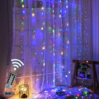 Obrecis 300 LED 8 Modes Window Curtain Twinkle Starry Lights, Colorful USB Remote & Timer Icicle Curtain Lights for Wedding, Party, Garden, Christmas, Halloween Decorations-9.8ft x 9.8ft(Four Color)
