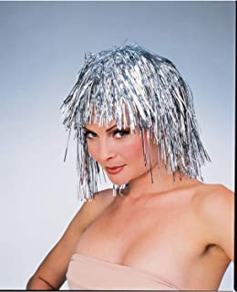 Colorful Tinsel Hair Short Disco Rock 80s Wig Mardi Gras Crazy Costume Accessory
