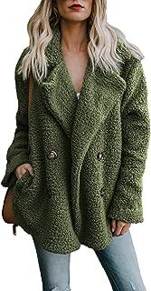 Women's Fuzzy Fleece Open Front Cardigan Jacket Coat Outwear with Pockets