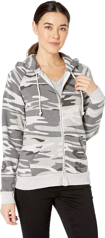 Alternative Womens Adrian Printed EcoFleece Zip Hoodie Hooded Sweatshirt