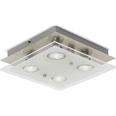 B.K.Licht plafonnier LED moderne 4 spots, métal & verre satiné, 4 ampoules LED GU10 3 Watt incluses, lampe plafond, éclairage intérieur