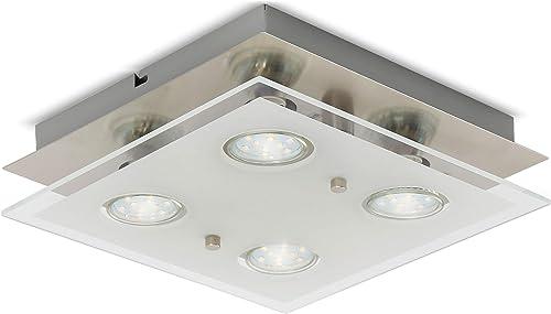 B.K.Licht plafonnier LED moderne 4 spots, métal & verre satiné, 4 ampoules LED GU10 3 Watt incluses, lampe plafond, é...