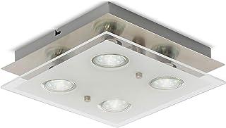 B.K.Licht - Lámpara plafón LED de forma cuadrada con 4 focos y de cristal para interiores con diseño elegante y discreto d...