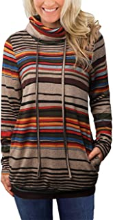EMVANV Striped Long Sleeve Tops Pullover Sweatshirt,Casual Cowl Neck Sweatshirts with Pockets for Women