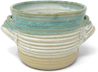 Mosquito Mud Pottery Bread Baker Deep Dish Casserole with Handles, Aqua Stripe