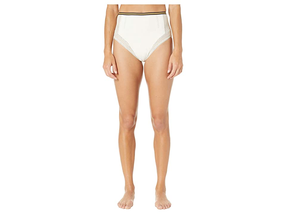 Stella McCartney Contrast Stitching High-Waist Bikini Bottoms (Cream) Women
