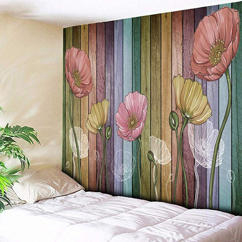 DEQI Retro Wood Plank Flower Wall Tapestry Colorful Tapestry Wall Hanging For Livingroom Bedroom Dorm Home Decor W78 X L71