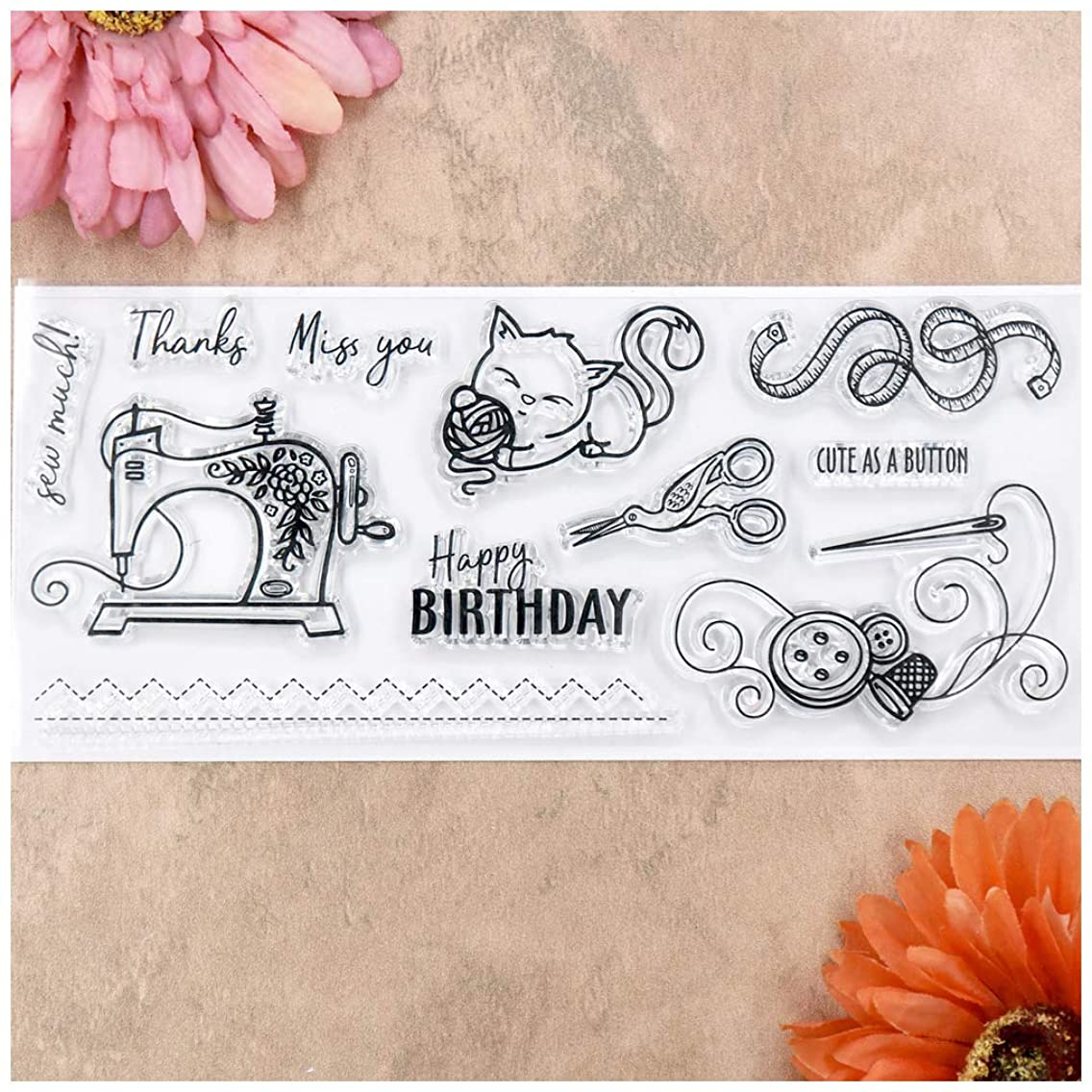 Kwan Crafts Happy Birthday Sew Thanks Miss You Clear Stamps for Card Making Decoration and DIY Scrapbooking