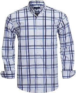 pipigo Mens Casual Regular Fit Long Sleeve Contrast Plaid Button Down Shirt Top