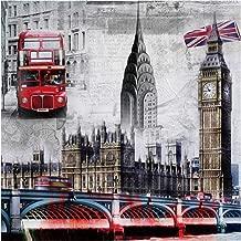 5D Diamond Painting, London feilin Full Drill DIY 5D Diamond Rhinestone Crystal Painting Cross Stitch Kit Wall Art Decor Diamond Embroidery Painting by Number Kits Home Decor 35x35cm