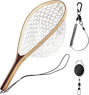FISHARE Fly Fishing Net, Wooden Frame Fishing Landing Net with Magnetic Release, Soft Rubber Mesh Net for Trout Bass Catch and Release, Magnetic Fly Fishing Gear