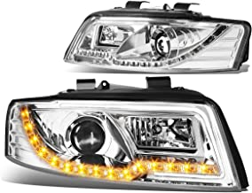For Audi A4 / A4 Quattro B6 Typ 8E Pair of Chrome Housing Projector Headlight + Amber LED DRL