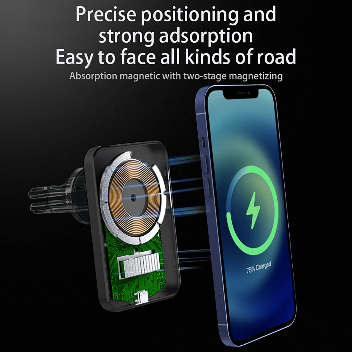 Hands Free Cell Phone Holder for Car-Black Magnetic Phone Car Mount,Magnetic Wireless Car Charger Compatible for iPhone 12 Series,Phone Car Holder with Stronger Vent Clip