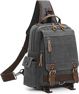 Wind Took Schultertasche Canvas Brusttasche Sling Rucksack Crossover Bag Vintage Umhängetasche Outdoor Daypack für Herren Damen, Grau