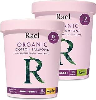 Rael Organic Cotton Compact Tampons - Plant Based Applicator, Chlorine Free, Compact Applicator with Leak Locker Technolog...