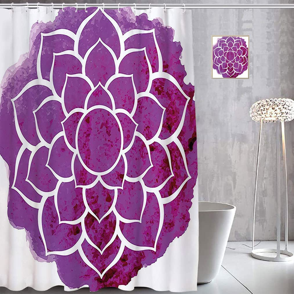 Purple Printed Shower Super popular New item specialty store Curtain Watercolor Flower Lotus Styl Boho