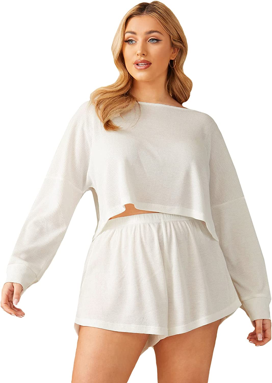 SheIn Women's Plus Waffle Knit Long Sleeve Crop Top and Elastic Waist Shorts Pajama Set