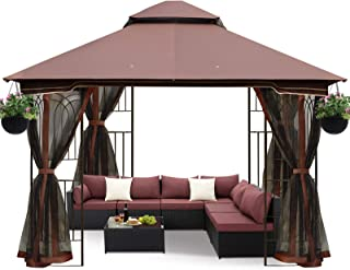 ECOTOUGE 10FT Outdoor Gazebo for Patios, Double Waterproof Soft-top Canopy, Garden Tent with Netting for Party, Backyard, ...
