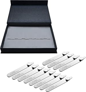 12 Magnetic Collar Stays / Stiffeners with Magnets Presented in a Leather Case