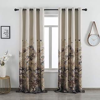 Taisier Home Faux Linen Autumn Curtains Leaves Print Window Treatment for Bedroom Vintage..