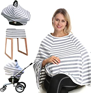 Car Seat Nursing Breastfeeding Cover, 360° Full Privacy Breastfeeding Nursing Poncho, Thick Soft Stretchy Carseat Canopy Cover, Stroller Cover for Infant Babies, Convertible Multi Use 6 in 1