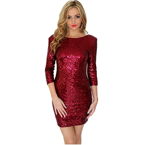 3f0f7d98ba3 TowerTree Women s Sparkle Glitter Sequin 3 4 Sleeve Bodycon Shiny Party  Dress Vegas