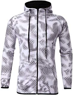 Men's Autumn Print Zipper Sweatshirt Hooded Top Pants Sets Sports Suit Tracksuit