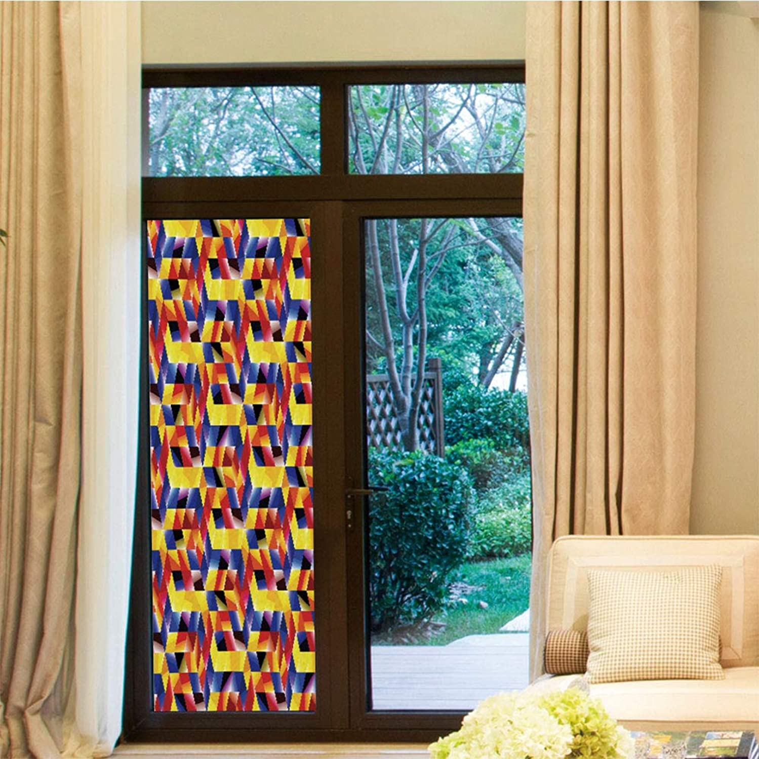YOLIYANA Environmental Protection Window Film,Geometric,for Home Office School,Vibrant Complex Abstract Forms Contrast Modern Design Digital,24''x70''