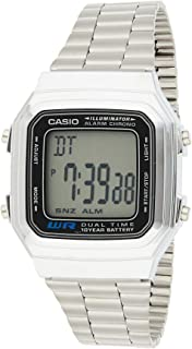 Casio Men's Grey Dial Stainless Steel Digital Watch - A178WA-1ADF