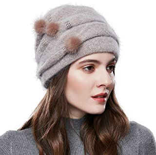 SOMALER Womens Wool Knit Beanie Hat Thick Warm Lined Winter Hats for Women