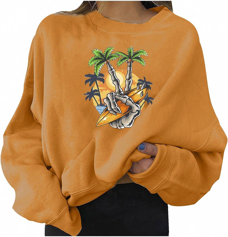 Halloween Sweatshirts for Women, Womens Pumpkin Print Sweater Halloween Long Sleeve Pullover Top Lightweight