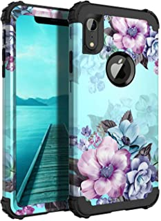 Casetego Compatible iPhone XR Case,Floral Three Layer Heavy Duty Hybrid Sturdy Armor Shockproof Full Body Protective Cover Case for Apple iPhone XR 6.1 inch,Blue Flower